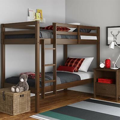 Twin Bunk Beds Convertible Kids Solid Wood Bedroom Furniture Dorm
