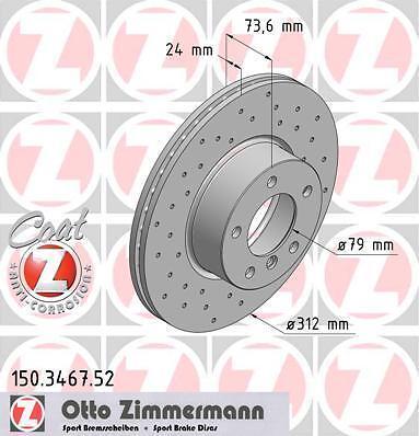 34116774875 BMW E92//E93 3 SERIES SET ZIMMERMANN FRONT SPORT BRAKE DISCS /& PADS