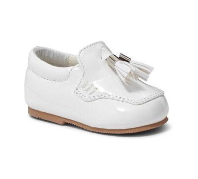5037c6704493a Boy's White Spanish Patent Slip On Loafer Walking Shoe UK Infant 3-8 *Small  Fit* | eBay