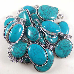 Turquoise-Wholesale-Lot-Silver-Plated-20Pcs-Pendant-Gemstone-Jewelry