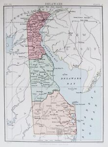 Details about OLD ANTIQUE MAP DELAWARE USA c1880s UNITED STATES AMERICA by  BARTHOLOMEW/BLACKIE