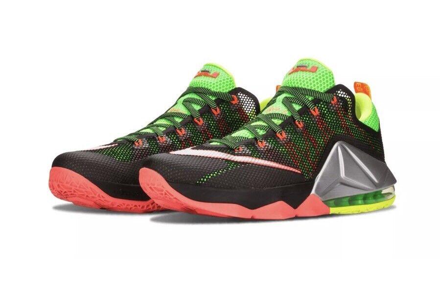 Nike lebron xii 724557-003 basso folletto nero lime orange scarpe da basket 10,5
