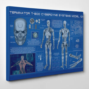 Blueprint terminator framed canvas art print arnold movie t 1000 image is loading blueprint terminator framed canvas art print arnold movie malvernweather Images