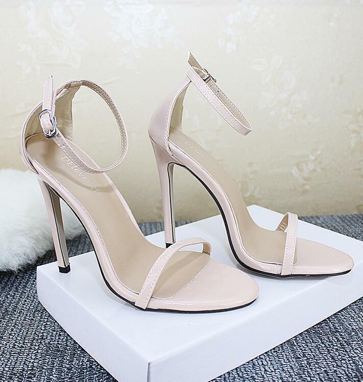 donna Sandals Peep Toe Ankle Strap Very High Slim Heels scarpe Nightclub Leather