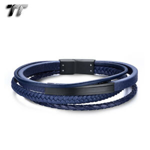 TT-Blue-Leather-316L-S-Steel-Black-ID-Clip-Bracelet-Wristband-BR292-NEW