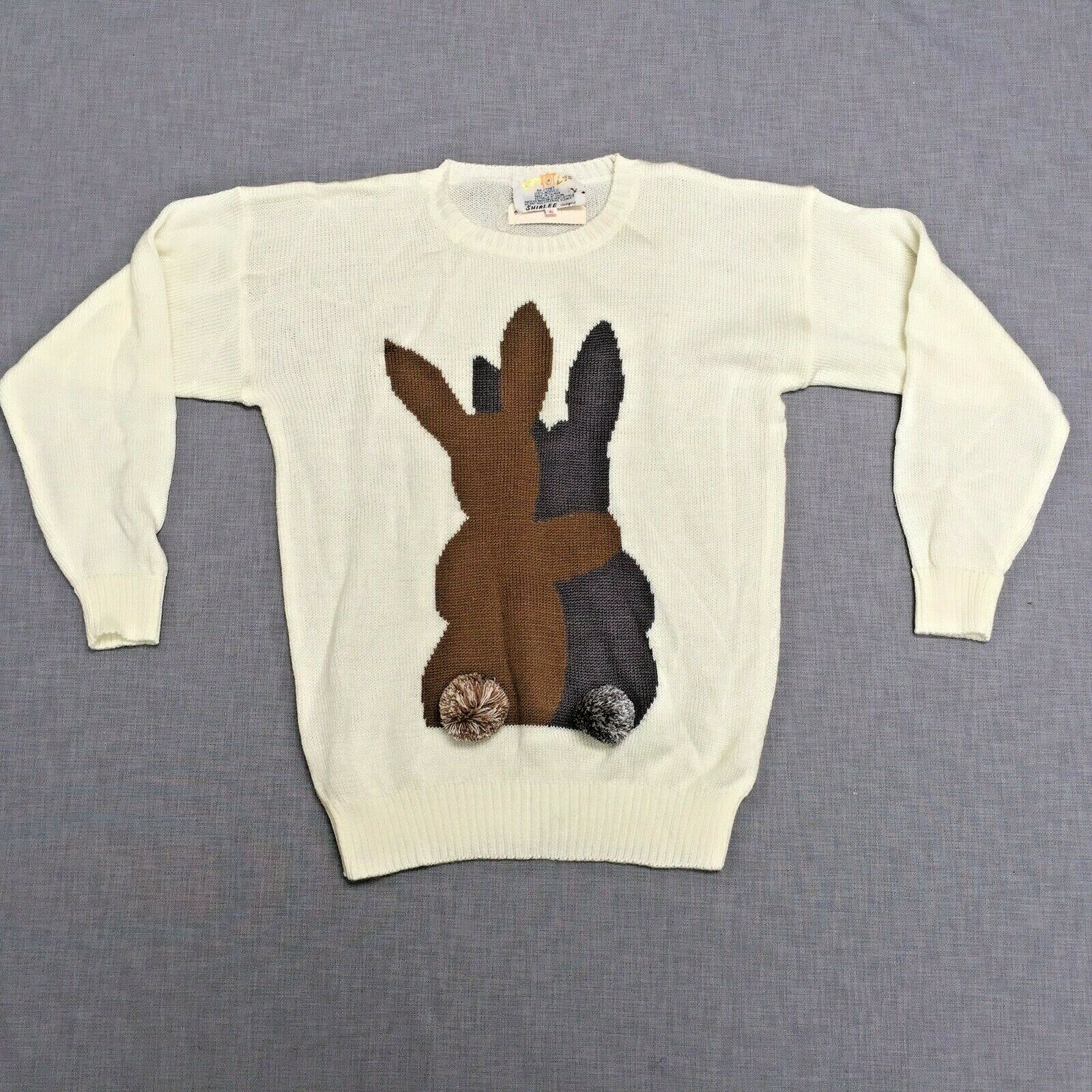 Cyn Les Shirlee Womens Sweater XL Rabbits Bunny Easter NWT Knit Top Pom Poms Vtg