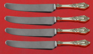 "Antiques Eloquence By Lunt Sterling Silver Fruit Knife Set 4pc Custom Made 7"" Hhws To Have A Long Historical Standing"