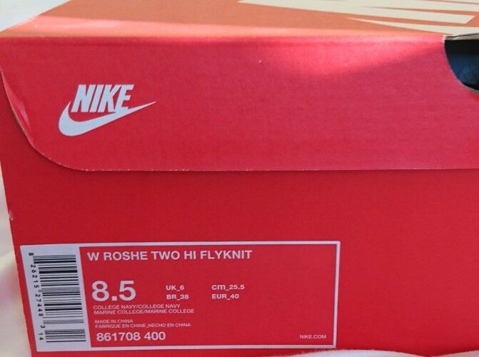 Nike WMNS ROSHERUN due Hi Flyknit Stivali neri neri Stivali e Navy donna uk 6 861708 400 NUOVO CON SCATOLA d8b2cc