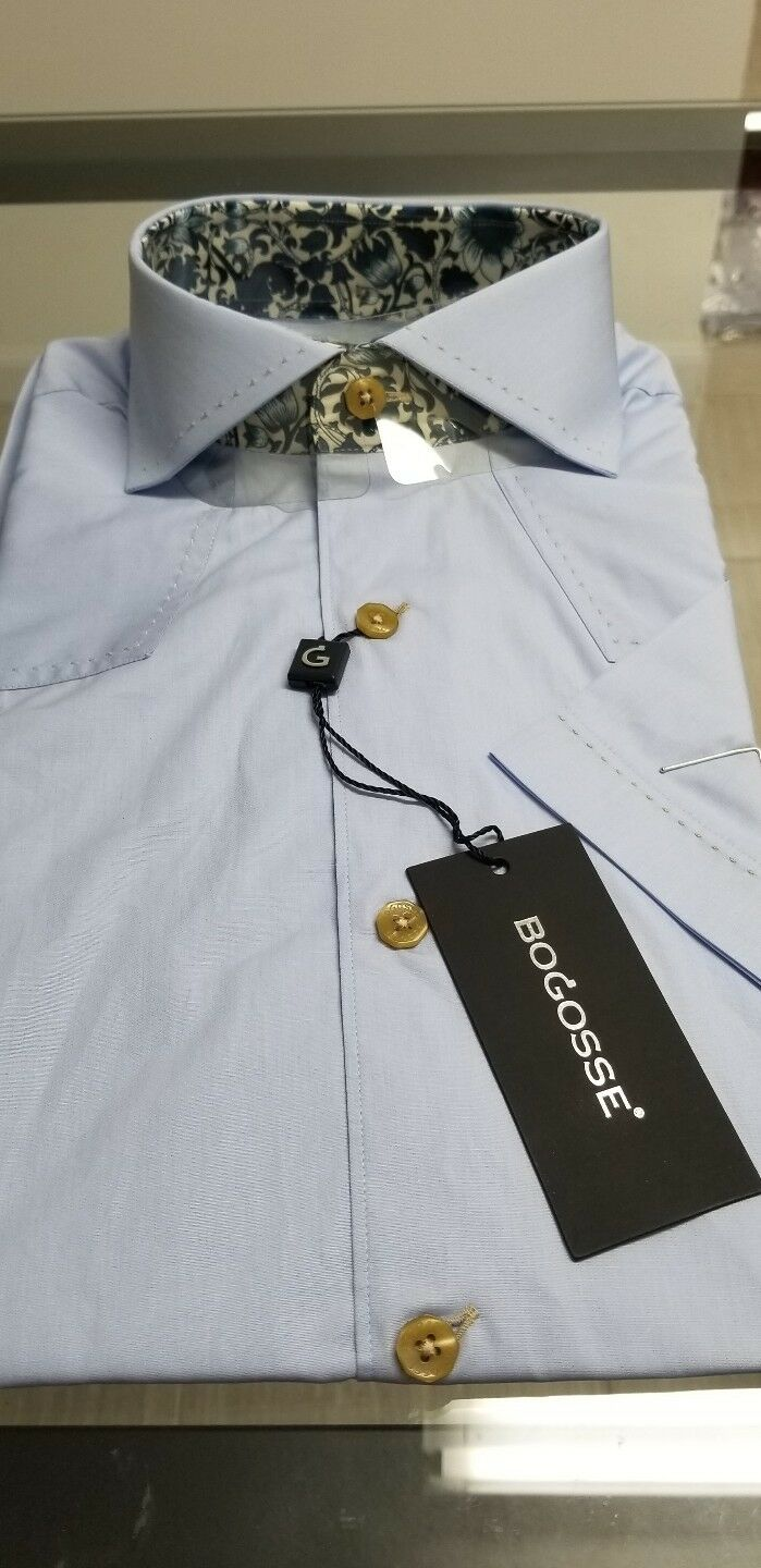 WOW NWT Bogosse Men's size 3 or medium short sleeve button down shirt, fancy
