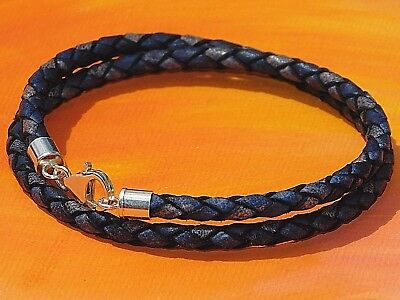 Ladies 5mm Black round leather and stainless steel bracelet by Lyme Bay Art
