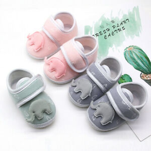 Infant-Newborn-Baby-Girls-Boys-Prewalker-Cartoon-Elephant-Applique-Single-Shoes