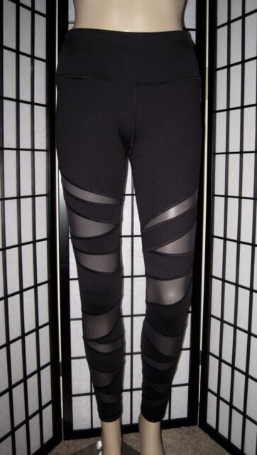 37041a1617621 NWT VICTORIA'S SECRET SPORT VSX BLACK MESH PANEL KNOCKOUT TIGHT YOGA  LEGGINGS