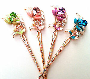 Tree Branch and Plum Flower Design Hair Sticks with Rhinestones and Pearl Accent