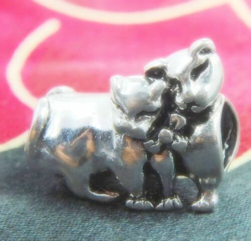 .925 SILVER BEAD EUROPEAN CHARM FOR BRACELET A60 TWIN CATS SISTER IN LOVE PET