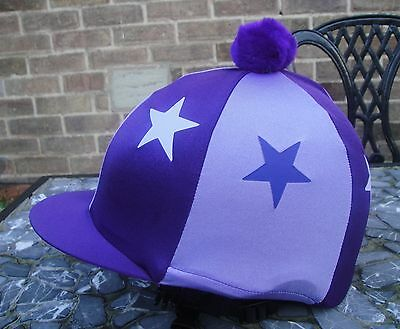 Lycra Riding Hat Silk skull cap cover PLAIN PURPLE with or without pompom