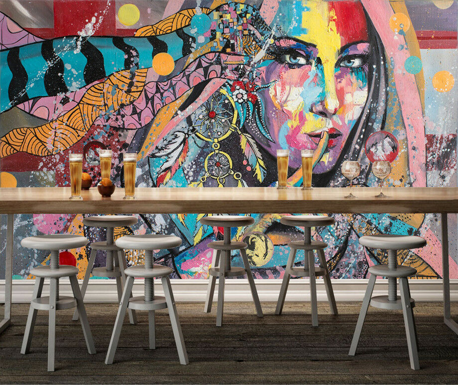 3D Girl Paint 59 Wallpaper Murals Wall Print Wallpaper Mural AJ WALLPAPER UK
