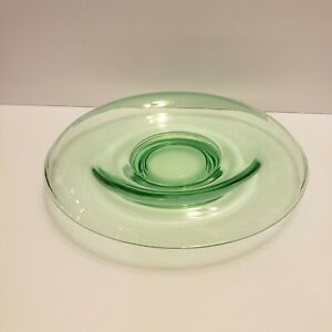 9-Vintage-Green-Depression-Glass-Rolled-Edge-Console-Bowl