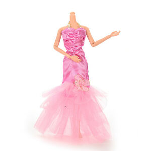 Party-Doll-Dress-Fishtail-Skirt-With-Flower-Clothes-Gown-For-Kid-liau-TU-T-js
