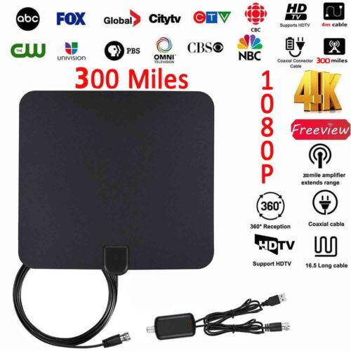 300 Miles HDTV Amplified Indoor Digital TV Antenna High Gain Strong Signal 4K US