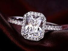 2.15 CT EMERALD CUT ENHANCED D/SI1 DIAMOND ENGAGEMENT RING 14K WHITE GOLD
