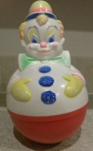 VTG-1977-SANITOY-INC-ROLY-POLY-CLOWN-BABY-TOY-W-CHIME-BELLS