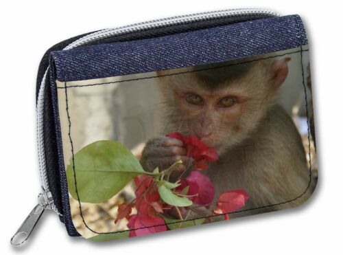 Monkey with Flowers Girls//Ladies Denim Purse Wallet Christmas Gift Idea AM-3JW