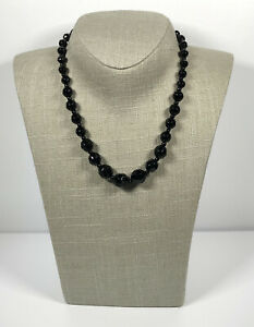 Vintage Necklace Faceted French Jet Beads Collar Length Barrel Clasp Pretty