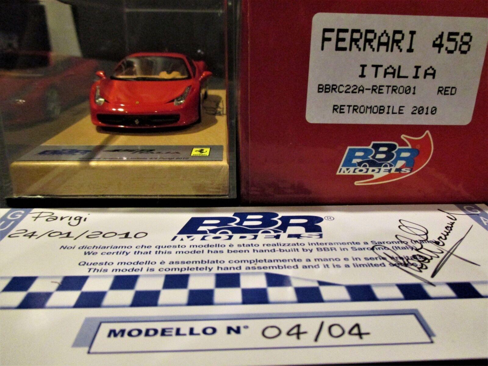 FERRARI 458 COUPE red CORSA 322 RETROMOBILE BBR 1 43  BBRC22A-RETRO01 N°04 04