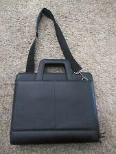 Foray Zippered Briefcase Portfolio Organizer Black Faux Leather 3 Ring Binder