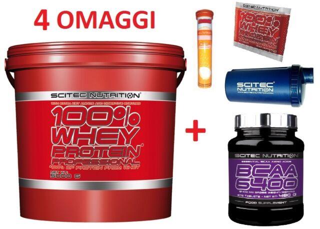 Scitec Nutrition 100% Whey Protein Professional 5 Kg Proteine Siero Latte + BCAA