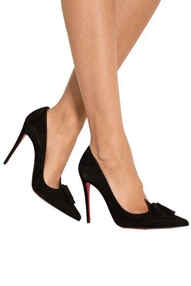 Christian Louboutin Louboutin Louboutin Gwalior 100 Negro Gamuza Zapatos De Taco Talla UK 5.5 EU 38.5  los clientes primero
