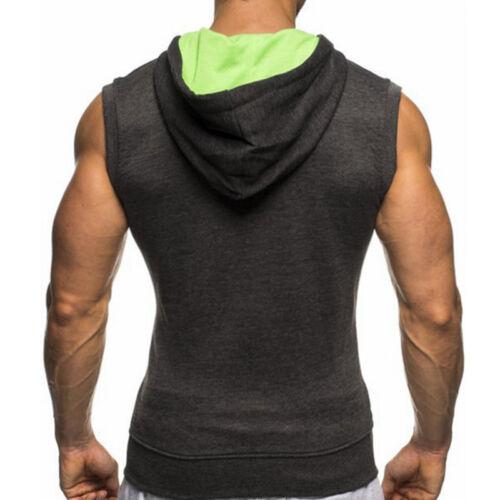 Herren Kapuze Fitness Tanktop T-Shirt Muskelshirt Sport Pullover Weste Tops Hemd