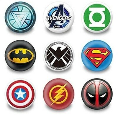 Loot Bag NEW Lot of 9 Marvel Superheroes Badges 3cms diameter Party Favours