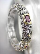 GORGEOUS Designer BALINESE Silver Gold Purple Amethyst CZ Crystals Bracelet