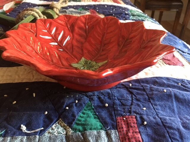 Maxcera Maxcera Maxcera rot Poinsettia Flower Christmas Holiday Large Soup Bowl Set of 4 New 417cce