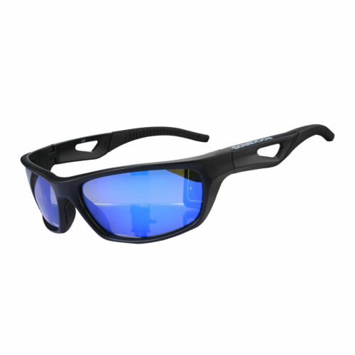 RockBros Polarized Cycling Glasses Full Frame Eyewear Sunglasses Black Blue