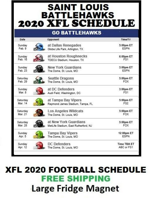 2020 Saint Louis BattleHawks XFL Team Football Schedule