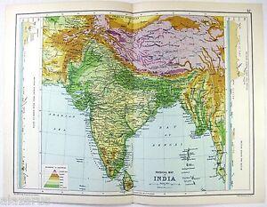 Original 1909 Physical Map of India by John Bartholomew & Co.