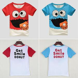 Nino-Infantil-Dibujos-Camiseta-Manga-Corta-Cuello-Redondo-Camiseta-Top-Verano