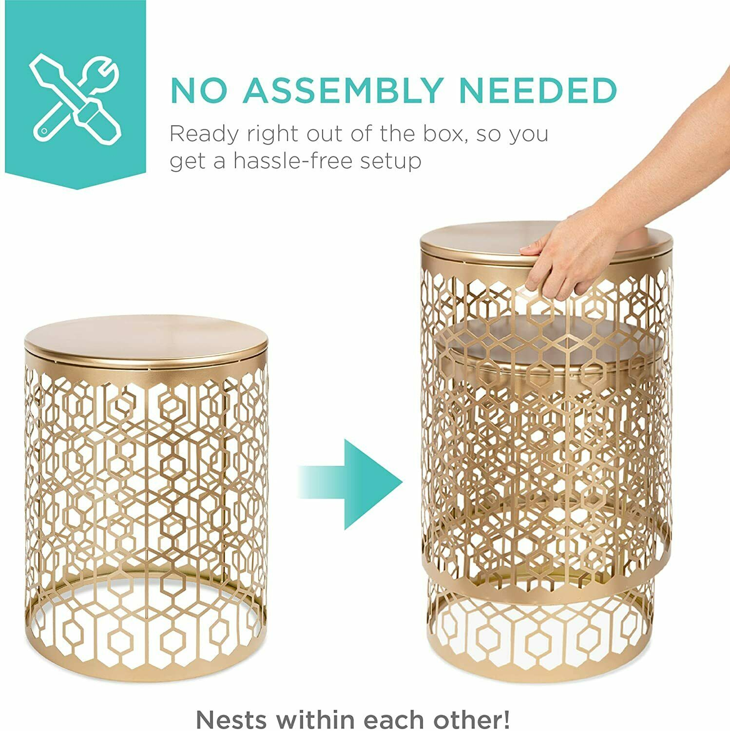 Set Of 2 Contemporary 18 And 20 Inch Round Accent Tables By Studio 350 For Sale Online Ebay