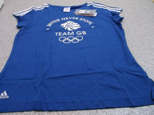 adidas Olympics LONDON 2012 m GB 3 Stripe Ladies Blue T Shirt