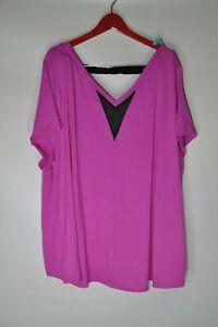 Lane-Bryant-Livi-Active-Shirt-Purple-Black-Deep-Back-V-Neck-Sz-26-28-Mesh-Front