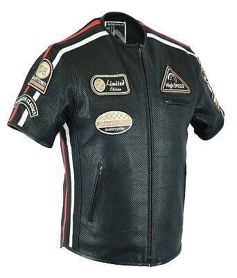 2XL Schwarz German Wear Leder Motorrad Kutte Weste