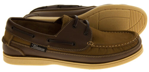 Mens Leather HELMSMAN Lace Up Boat Loafers Formal Moccasin Sailing Deck Shoes