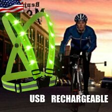LED Light Safety Reflective Vest Stripes Running Cycling Walking Night Jacket US