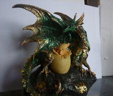 DRAGO AVALON CON CUCCIOLO UOVO statua fantasy soprammobile gotico george martin