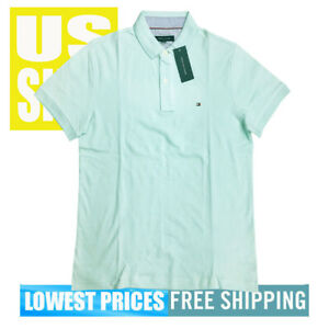 Tommy-Hilfiger-NWT-Men-039-s-Classic-Fit-Solid-Mint-Green-Polo-Shirt-MEDIUM
