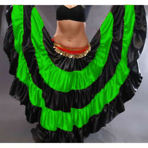 NEON-GREEN-Satin-Gypsy-Skirt-5-Tier-32-Yard-Belly-Dance-Costume-Ethenic-Jupe