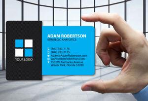 50 Clear Plastic Business Cards Carbon Fiber Blue 30 Mil Thick