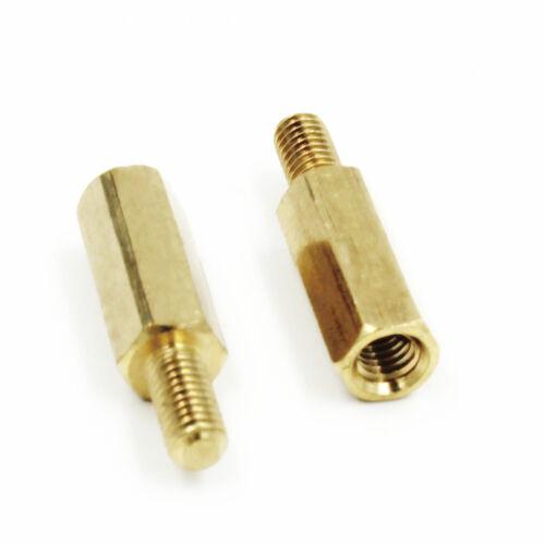 Neu M3 Male 6mm x M3 Female 12mm Brass Standoff Spacer 12+6mm 25Stk